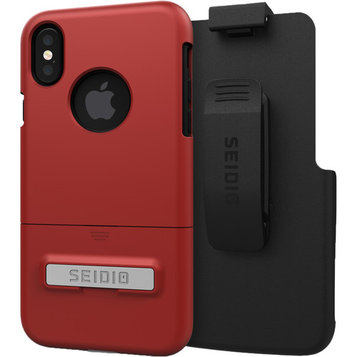 Seidio SURFACE Case with Kickstand and Holster for iPhone X (Dark Red/Black)