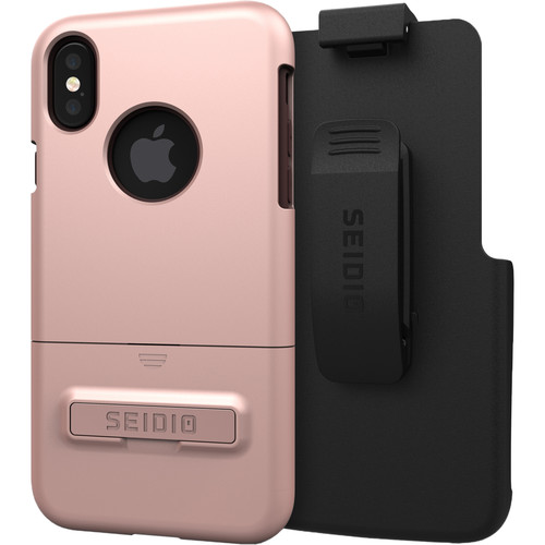 Seidio SURFACE Case with Kickstand and Holster for iPhone X/Xs (Rose Gold/Brown)