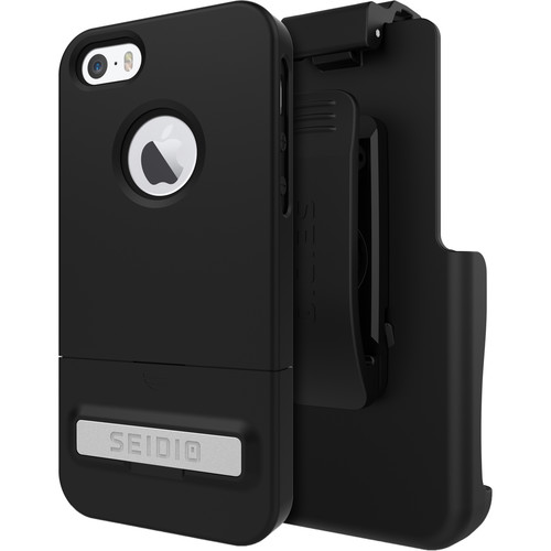 Seidio SURFACE Case with Kickstand for iPhone 5/5s/SE and Holster (Black/Black)