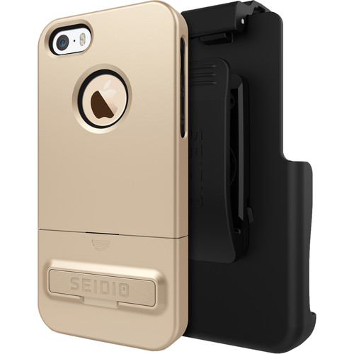 Seidio SURFACE Case with Kickstand and Holster for iPhone 5/5s/SE (Gold/Black)