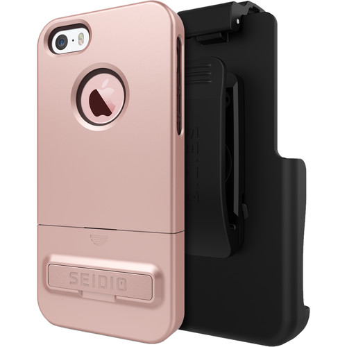 Seidio SURFACE Case with Kickstand for iPhone 5/5s/SE and Holster (Rose Gold/Chocolate Brown)
