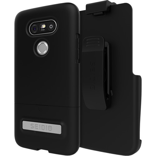 Seidio SURFACE Case with Kickstand and Holster for LG G5 (Black/Black)