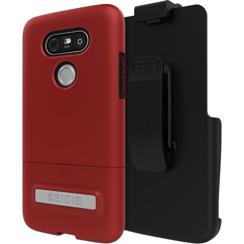 Seidio SURFACE Case with Kickstand and Holster for LG G5 (Dark Red/Black)
