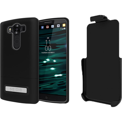 Seidio SURFACE Case with Kickstand and Holster for LG V20 (Black/Black)