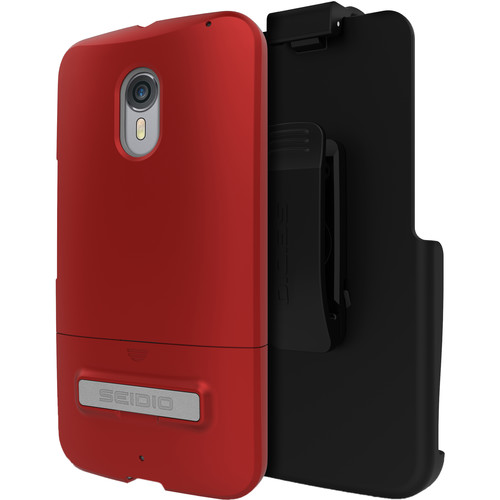 Seidio SURFACE Case with Kickstand and Holster for Motorola Moto X Pure Edition (Garnet Red)