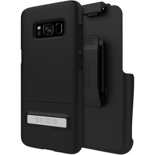 Seidio SURFACE Case with Kickstand and Holster for Galaxy S8 (Black/Black)