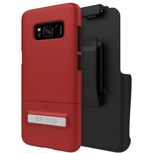 Seidio SURFACE Case with Kickstand and Holster for Galaxy S8 (Dark Red/Black)