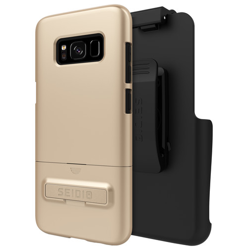 Seidio SURFACE Case with Kickstand and Holster for Galaxy S8 (Gold/Black)