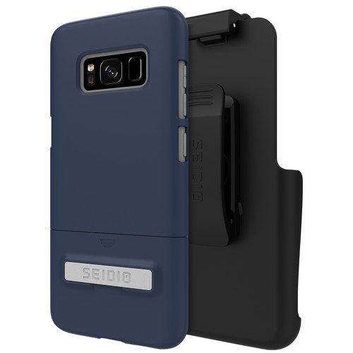 Seidio SURFACE Case with Kickstand and Holster for Galaxy S8 (Midnight Blue/Gray)