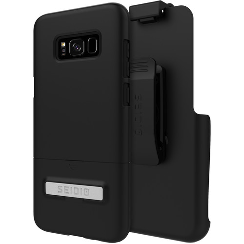 Seidio SURFACE Case with Kickstand and Holster for Galaxy S8+ (Black/Black)