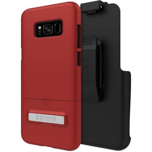 Seidio SURFACE Case with Kickstand and Holster for Galaxy S8+ (Dark Red/Black)