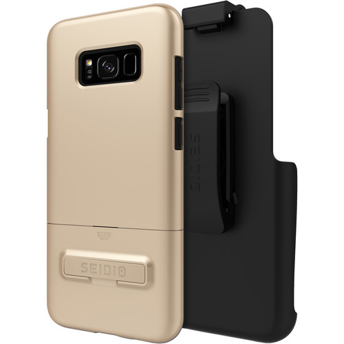 Seidio SURFACE Case with Kickstand and Holster for Galaxy S8+ (Gold/Black)