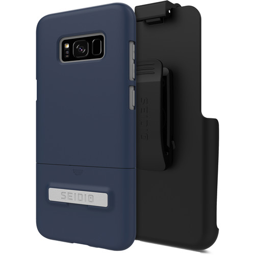 Seidio SURFACE Case with Kickstand and Holster for Galaxy S8+ (Midnight Blue/Gray)