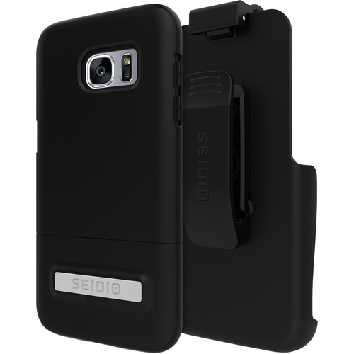 Seidio SURFACE Case with Kickstand and Holster for Galaxy S7 edge (Black/Black)