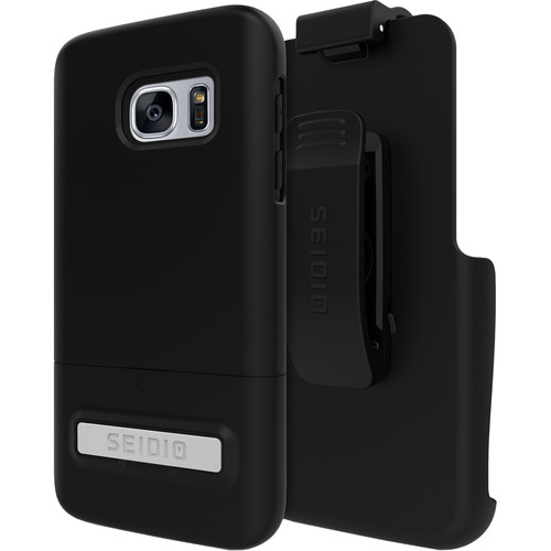 Seidio SURFACE Case with Kickstand and Holster for Galaxy S7 (Black/Black)