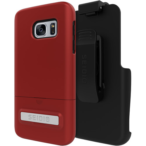 Seidio SURFACE Case with Kickstand for Galaxy S7 and Holster (Dark Red/Black)