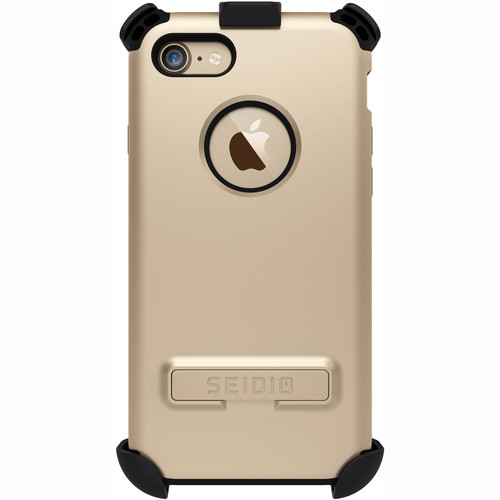 Seidio Dilex Case with Kickstand for iPhone 7/8 and Holster (Gold/Black)
