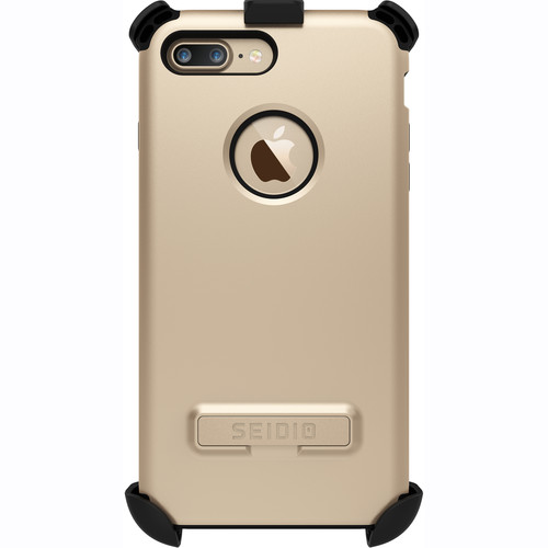 Seidio Dilex Case with Kickstand for iPhone 7 Plus and Holster (Gold/Black)