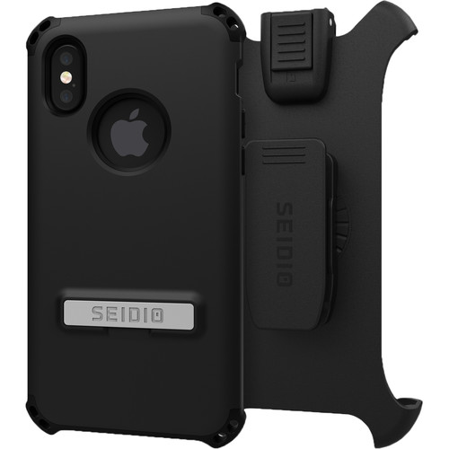 Seidio Dilex Case with Kickstand for iPhone X and Holster (Black/Black)