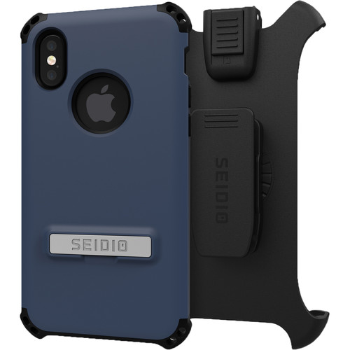 Seidio Dilex Case with Kickstand for iPhone X and Holster (Midnight Blue/Black)