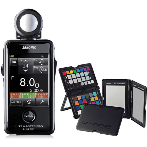 Sekonic Litemaster Pro L-478D Light Meter and X-Rite ColorChecker Passport with Sekonic Gray Balance Card