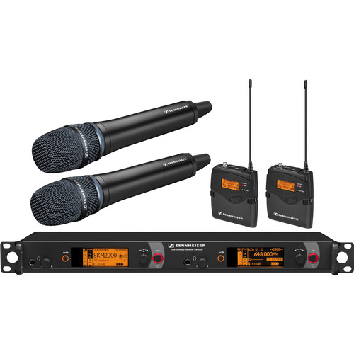 Sennheiser 2000 Series Dual Handheld and Dual Bodypack Transmitter Wireless Microphone System with Neumann KK 205 Capsules (Black)