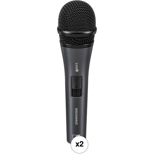 Sennheiser e825S Handheld Cardioid Dynamic Microphone with On/Off Switch Kit (Pair)