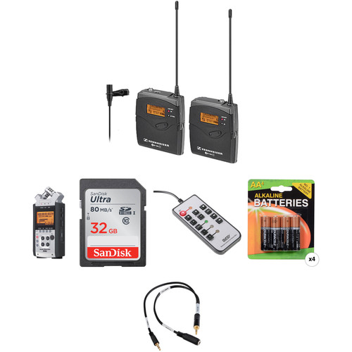 Sennheiser ew 112-P G3-A1 Wireless Lavalier System with Zoom H4nSP Recorder & Accessories Kit (470-516 MHz)