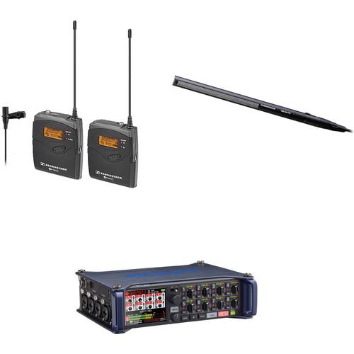 Sennheiser ew 112-p G3-A Wireless Lavalier System with Sennheiser MKH 416 Short Shotgun Microphone and Zoom F8 Multi-Track Recorder Kit (A: 516-558 MHz)