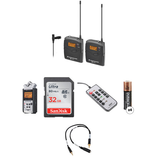 Sennheiser ew 112-P G3-B Wireless Lavalier System with Zoom H4nSP Recorder & Accessories Kit (626-668 MHz)
