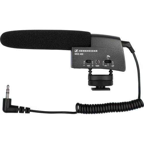 Sennheiser MKE 400 Compact Video Camera Shotgun Mic with Dual Shoe Bracket Kit