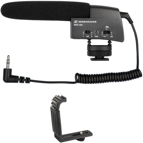 Sennheiser MKE 400 Compact Video Camera Shotgun Mic with Dual Shoe Bracket Kit