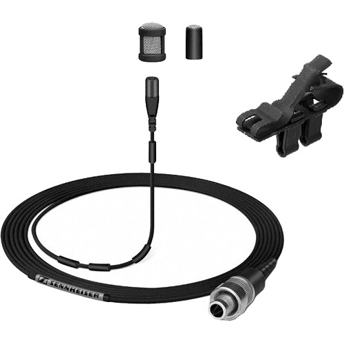Sennheiser MKE 1 Lav Kit,3.3mm Capsule,Lo-Sensitivity,Cable with Pigtails/Windscreen,Clip and Pouch(Black)