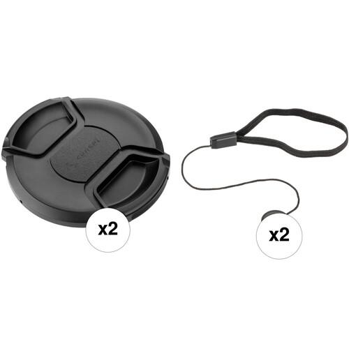 Sensei 49mm Center Pinch Snap-On Lens Cap and Cap Keeper Lens Cap Holder Kit (2-Pack)