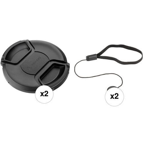 Sensei 55mm Center Pinch Snap-On Lens Cap and Cap Keeper Lens Cap Holder Kit (2-Pack)