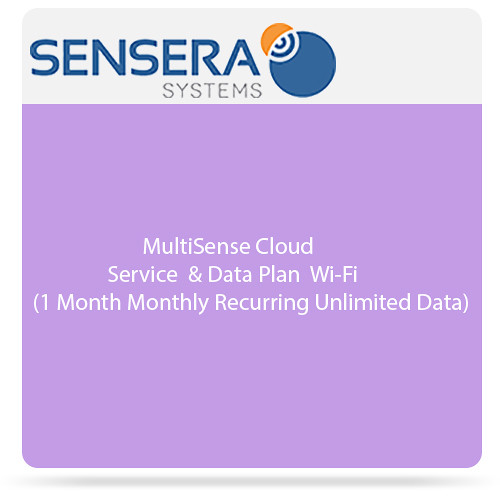 Sensera MultiSense Cloud Service & Data Plan - Wi-Fi (1 Month Monthly Recurring, Unlimited Data)