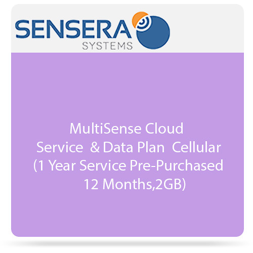 Sensera MultiSense Cloud Service & Data Plan - Cellular (1 Year Service Pre-Purchased 12 Months, 2GB)