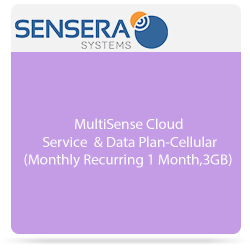 Sensera MultiSense Cloud Service & Data Plan - Cellular (Monthly Recurring 1 Month, 3GB)