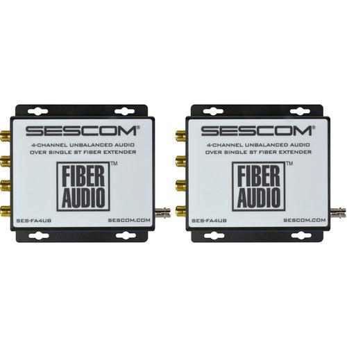 Sescom Four-Channel Unbalanced RCA Audio over Single ST Fiber Extender