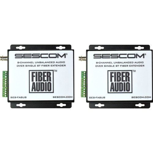Sescom Eight-Channel Unbalanced Audio over Single ST Fiber Extender Kit