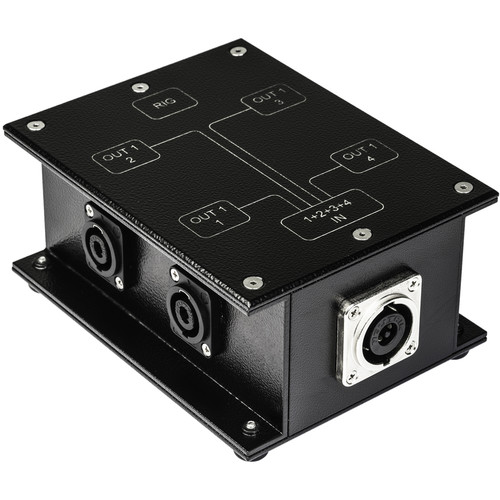 Sescom SpeakOn Breakout Audio Box NL8 to 4-NL4 Chassis Connectors