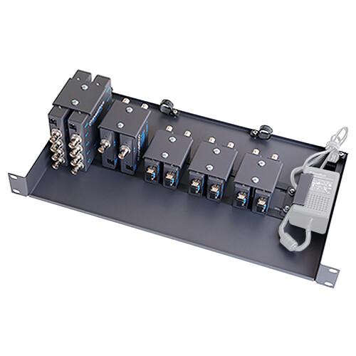 ShieldRock Rack10 Universal Shelf with Power Supply for 10 Mini Converters (1 RU)