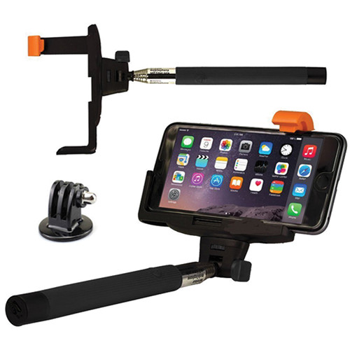 SHILL Extendable Pole with GoPro and Smartphone Mounts