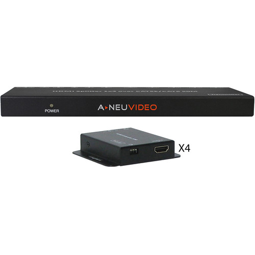 A-Neuvideo 1x4 HDMI Splitter and Extender over Cat5e/6 System