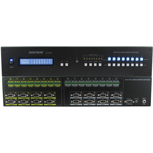 Shinybow 8x8 VGA with Terminal Block 5-Pin Stereo Analog Audio Matrix Routing Switcher