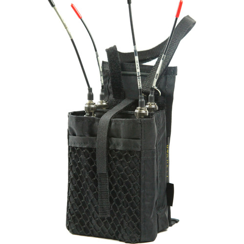 ShooterSlicker SWB3 Single StraddleBag with Two Pockets for Dual Wireless Receiver (Black)