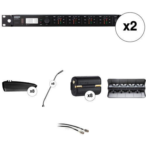 "Shure ULXD4Q 8-Channel Wireless Receiver with 15"" Gooseneck Microphone Kit (H50: 534 to 598 MHz)"