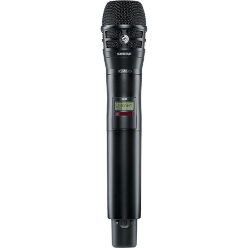 Shure AD2/K8B-G57 Axient Digital Wireless Handheld Transmitter with KSM8 Mic Head (G57: 470 to 616 MHz, Black)