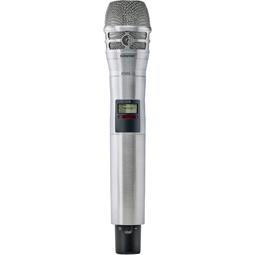 Shure AD2/K8N-G57 Axient Digital Wireless Handheld Transmitter with KSM8 Mic Head (G57: 470 to 616 MHz, Nickel)