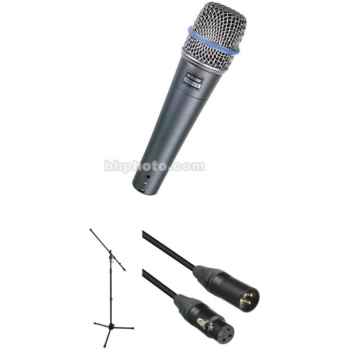 Shure Beta 57A Supercardioid Microphone with Stand and Cable Kit